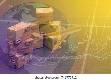 Mini cardboard boxes with a plane flies above world map. For several purposes or ideas about transportation, international freight, global shipping, overseas trade, regional / local forwarding.