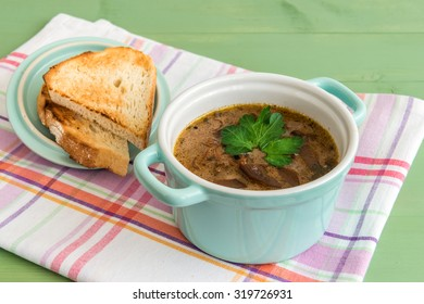 Mini casserole of mushroom soup grilled toast