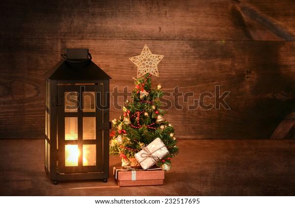 mini christmas tree with lantern