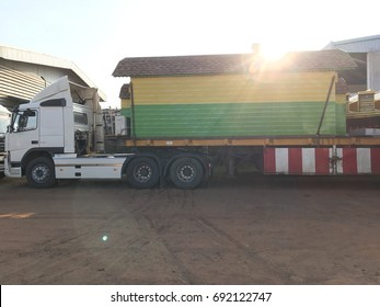 Mini colorful container house on a truck