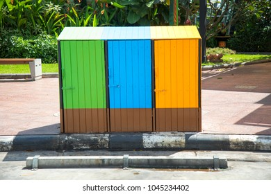 Mini colorful wooden storage unit in national park