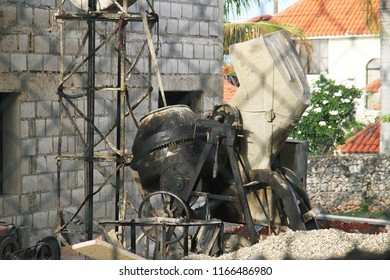 Mini concrete mixer at a construction site in the Caribbean
