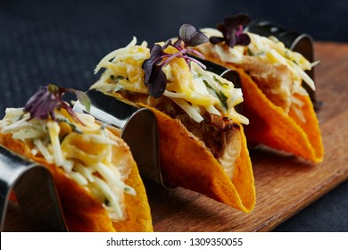 mini corn tacos with cod filling