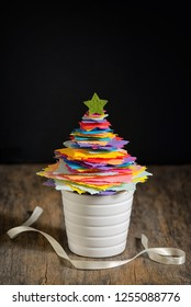 Mini DIY Paper Tree Christmas Decoration on wooden table