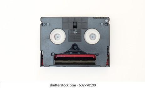 mini DV cassette Digital video cassette on white background