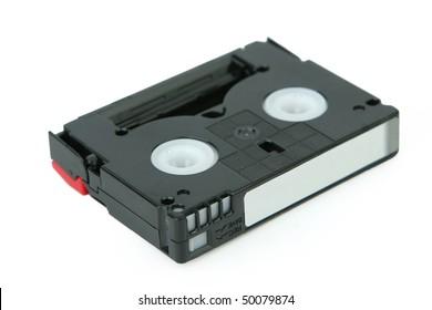 Mini Dv cassette on the isolated white background