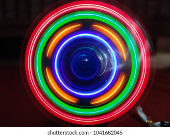 Mini Fan Turning Colorful Lights