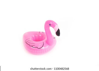 Mini flamingo isolate in white background.