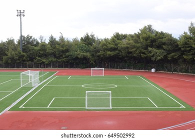 Mini football field 5x5 with no people in it,