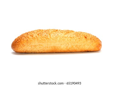 Mini French bread baguette with sesame seeds isolated on white