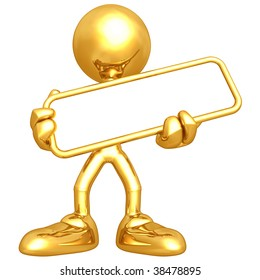 Mini Gold Guy With Blank Sign