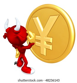 Mini Gold Guy Bull With Gold Coin