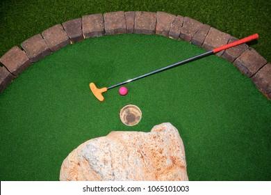 mini golf court at cruise ship deck