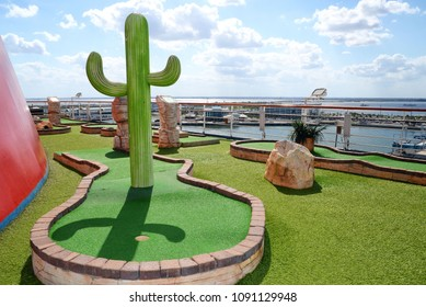 mini golf court at cruise ship deck. Carnival Cruise Lines.Nassau, Bahamas. Carnival Liberty. February 2018