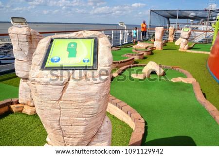 Mini Golf Court Cruise Ship Deck Stock Photo Edit Now 1091129942