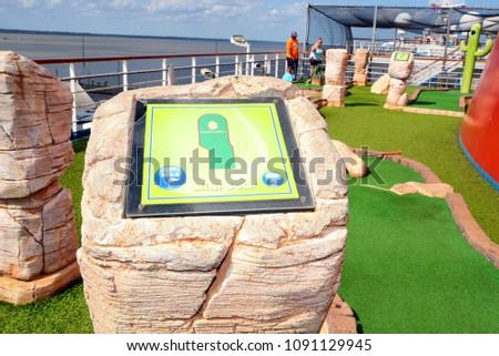Mini Golf Court Cruise Ship Deck Stock Photo Edit Now 1091129945