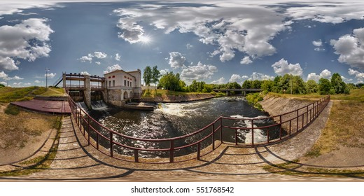 Mini hydro power plant on the lake on a sunny day. Full 360 by 180 degree seamless panorama in equirectangular spherical projection. Skybox for vr ar content