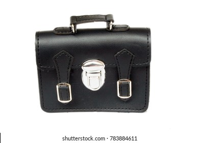 Mini leather brief case at the white background