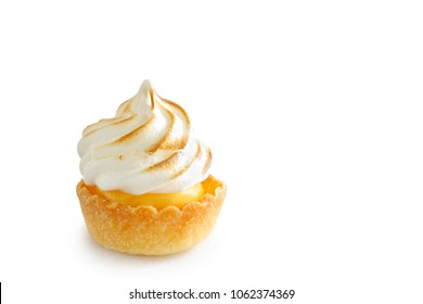 Mini lemon meringue tart isolated on white background