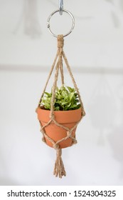 A mini macrame plant hanger made out of jute twine is hanging. A fake plant is in the ceramic pot.