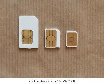 Mini, micro and nano sims for mobile phone