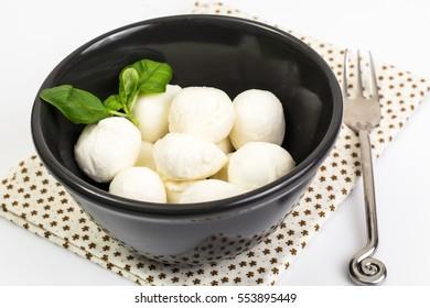 Mini mozzarella balls. Studio Photo