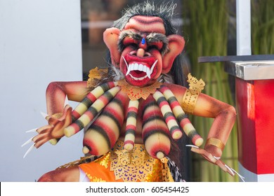 An mini Ogoh Ogoh statue on display in Jimbaran, Bali, during the Nyepi holiday to vanquish the bad spirits during the Balinese New Year in Bali, Indonesia.