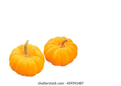 Mini orange pumpkin isolated on a white background.