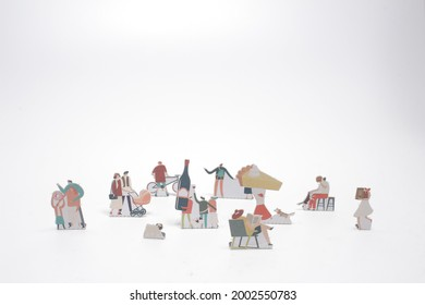 the mini of Paper doll of citylife at white board