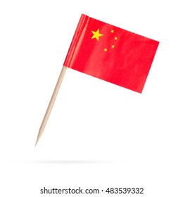 Mini paper flag China. Isolated Chinese flag pointer isolated on white background. With shadow below