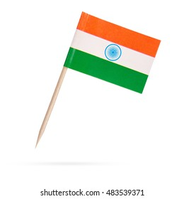 Mini paper flag India. Isolated Indian flag pointer on white background. With shadow below