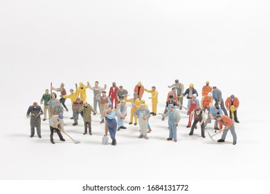 mini people group of labor isolated on white background