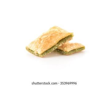 mini pie biscuit with kiwi jam on white background