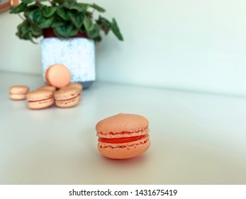 Mini pink french macarons. Flower in the background.