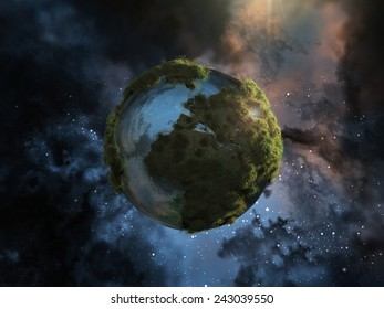 Mini planet earth with herbs floating in space