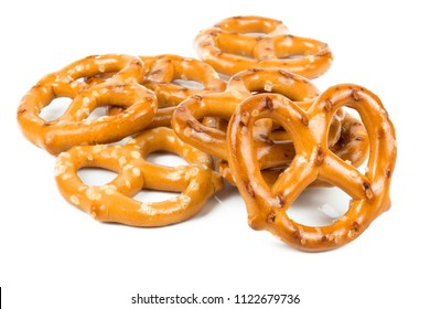 Mini pretzels isolated on white background