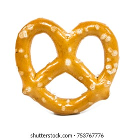 Mini pretzels on an isolated background