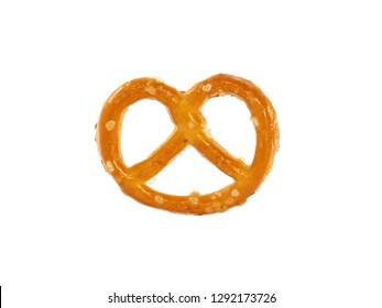 Mini pretzels with salt isolated on white