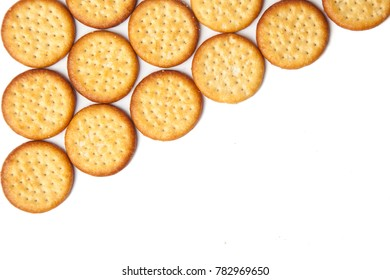 Mini round cheese biscuit savoury snacks on a white background