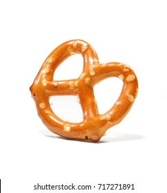 Mini salted pretzel isolated on white background. salted cracker pretzel isolated on white background. salty, snack, appetizer, white