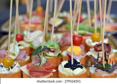 mini sandwiches on a baguette - picnic food