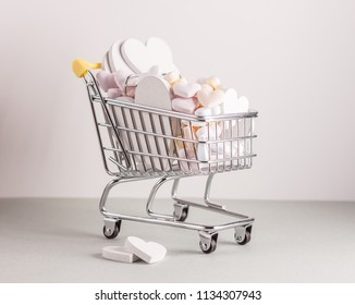 mini shopping cart with hearts