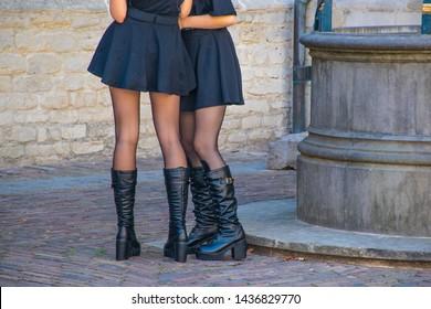 boots and mini dress