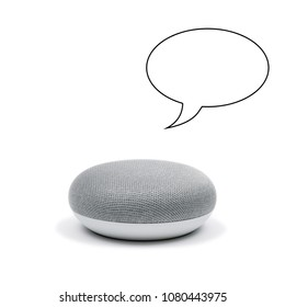 Mini Smart Speaker with a speech bubble