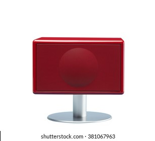 Mini Square Ultra Slim Wireless Bluetooth Speaker in Red Shade with Meta Stand, isolated on White