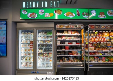 Mini Store 7-11, Bangkok, Thailand - May 2019 : Foods and Beverages on self ready to eat at International Supermarket brand 7-eleven shop with  Sort of product by good Product arrangement.