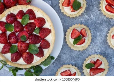 Mini strawberry tarts.Cake with sliced strawberries. Homemade tart.