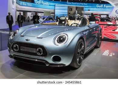 The Mini Superleggera concept car at The North American International Auto Show January 13, 2015 in Detroit, Michigan.