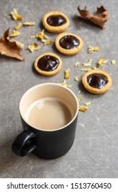 mini tart and cappuccino for autumn breakfast