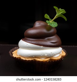 Mini tart with mascarpone custard and chocolate on dark background
